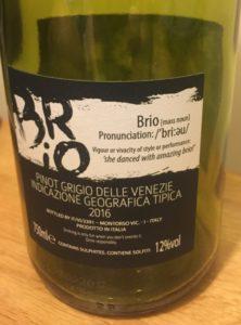 Brio Pinot Grigio 2016 Back